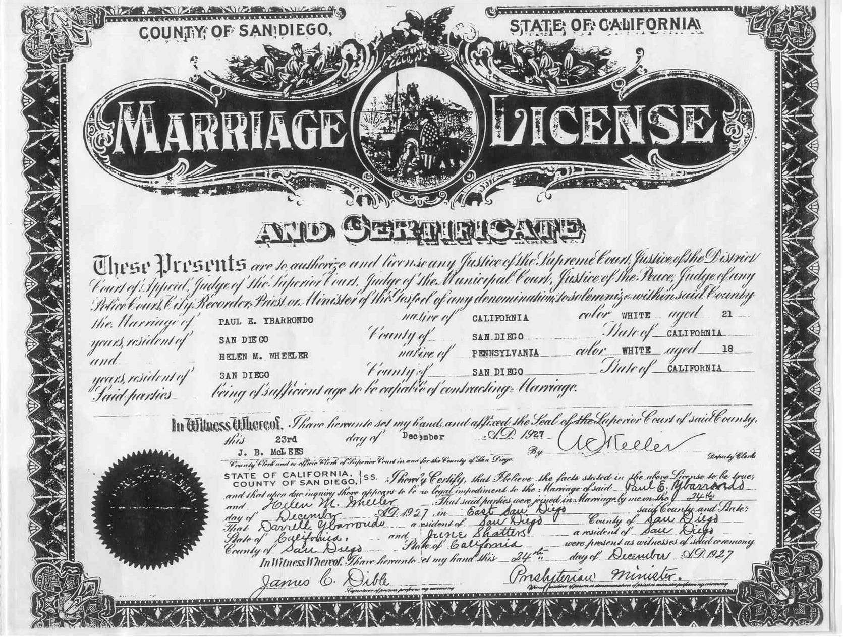 Documents Ybarrondo Paul And Helen De Marriage Certificate 1927